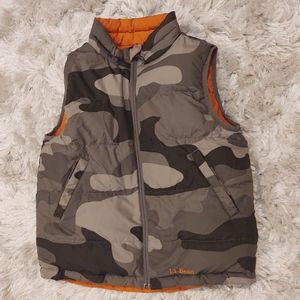 L.L. Bean Reversible camo orange goose down vest